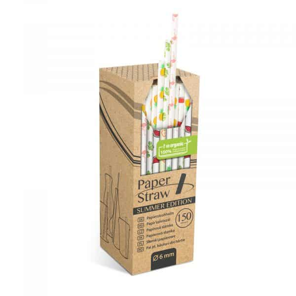 Papirnata slamica - poletni vzorec - 197 x 6 mm - 150 kosov / paket