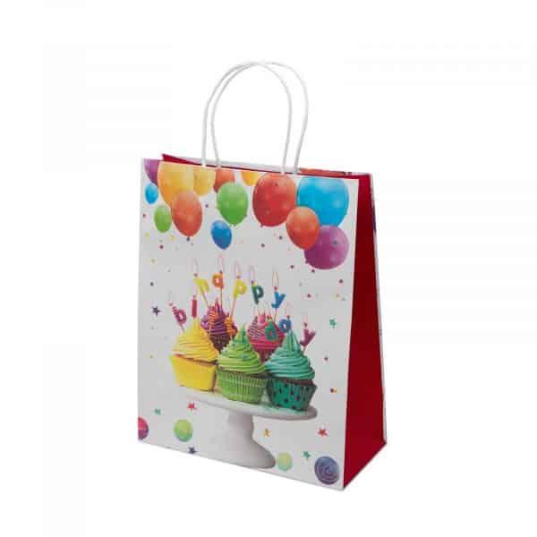 """Papirnata vrečka """"Happy Birthday"""" velikosti 32 x 26 x 12 cm - 4 vrste"""