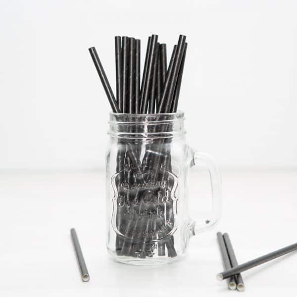 Papirnate EKO slamice - črne - 195 mm - 25 kosov / paket