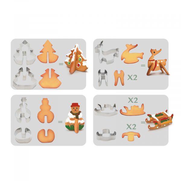 Piškotni kalup - 3D jelka, snežak, 16 kosov / set