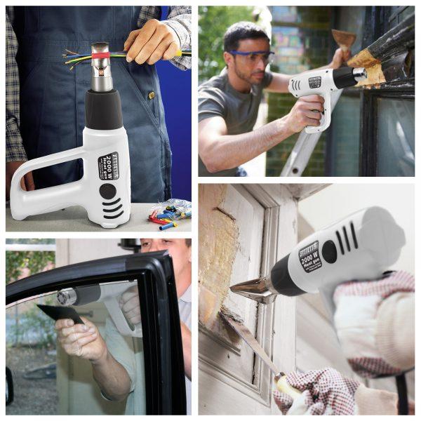 Pištola za vroči zrak - industrijski fen - nastavljiva temperatura - brezplačna dodatna oprema