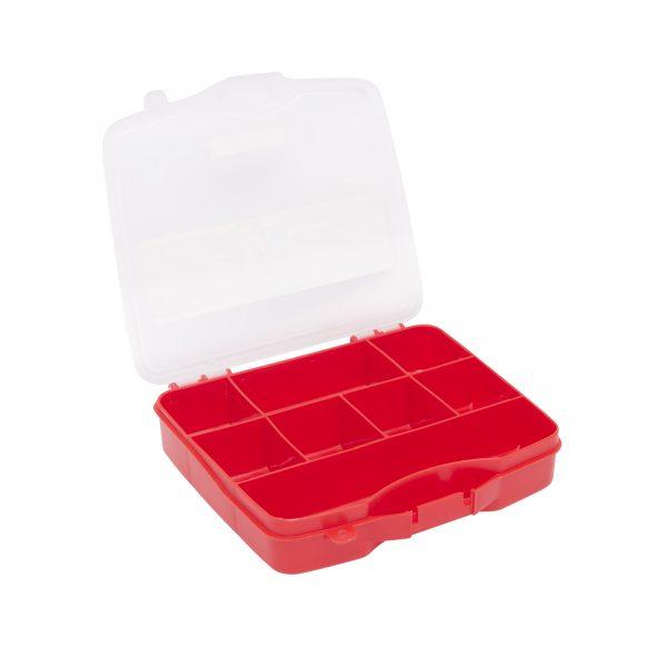 """Plastični kovček s predalčki rdeč - mali - 6.5"""" - 165 x 140 x 60 mm"""