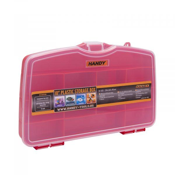 Plastični kovček s predalčki rdeč - velik - 258 x 160 x 40 mm