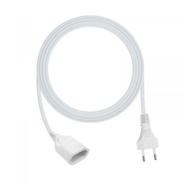 Podaljševalna vrvica - euro vtičnica - bela - 3 m