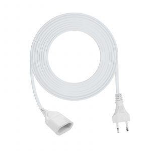 Podaljševalna vrvica - euro vtičnica - bela - 5 m