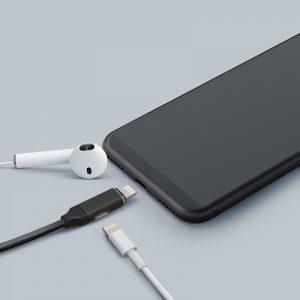 """Podatkovni kabel - 2 v 1 iPhone """"Lighting"""" v črni barvi - 1 m"""