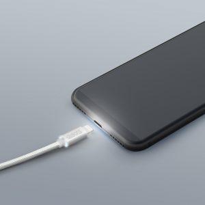 "Podatkovni kabel - iPhone ""Lighting"" - LED lučka, beli - 1 m"