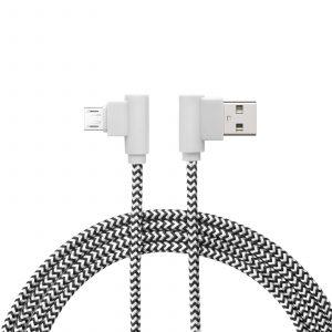 Podatkovni kabel - Micro USB - dizajn Gamer 90°, črno / bel - 2 m
