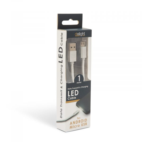 Podatkovni kabel - MicroUSB - LED lučka, beli - 1 m