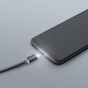 Podatkovni kabel - MicroUSB - LED lučka, črni - 1 m