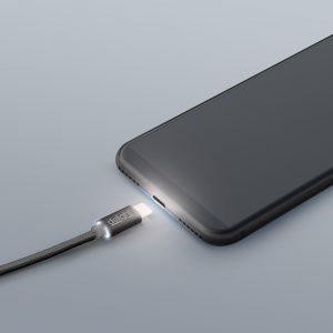 Podatkovni kabel - USB-C - LED lučka, črni - 1 m