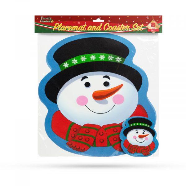 Podstavek za krožnike in skodelice - snežak - 8 kosov / pakiranje