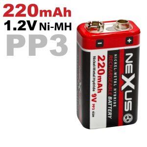 Polnilna baterija - E • PP3 • 6HR061 - Ni-MH • 9V • 220 mAh