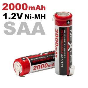 Polnilna baterija - za spajkanje • SAA • HR06 • Ni-MH 1,2V • 2000 mAh - 2 kos / blister