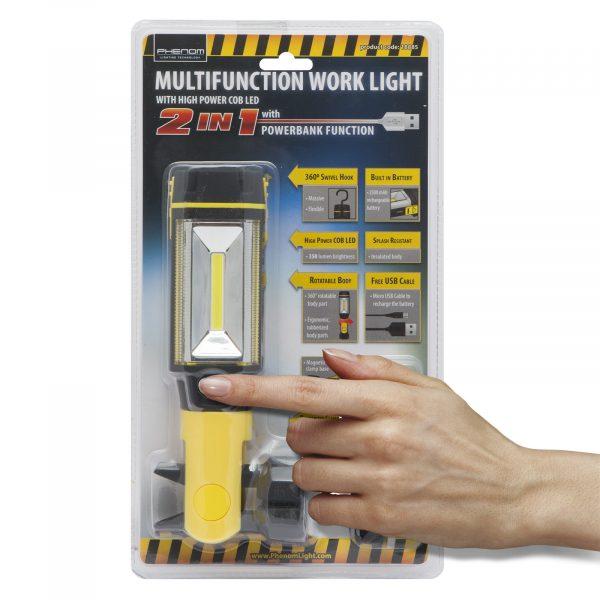 Polnilna COB LED delovna svetilka s power bank funkcijo