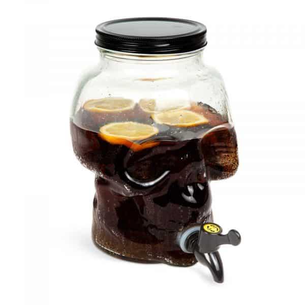 Posoda za pijačo s pipo, steklo - lobanja - 3 L