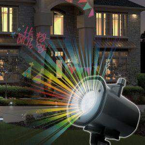 Praznični LED projektor z različnimi motivi s stojalom za zunanjo uporabo za adapterjem