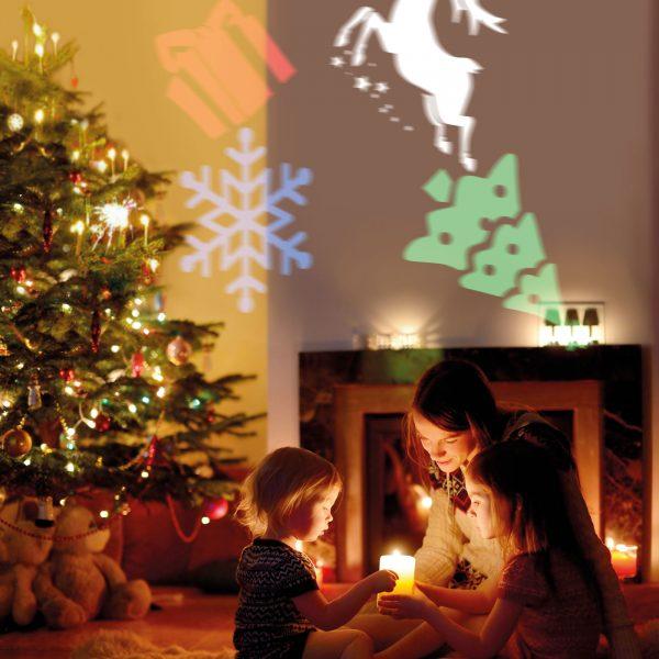 Praznični LED projektor z zamenljivimi motivi za rojstni dan, božič, noč čarovnic IP20