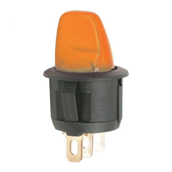 Preklopno stikalo - 1 krog - 6 A - 250 V - ON - OFF - oranžna luč
