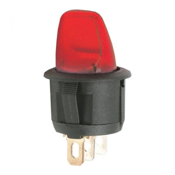 Preklopno stikalo - 1 krog - 6 A - 250 V - ON - OFF - rdeča luč