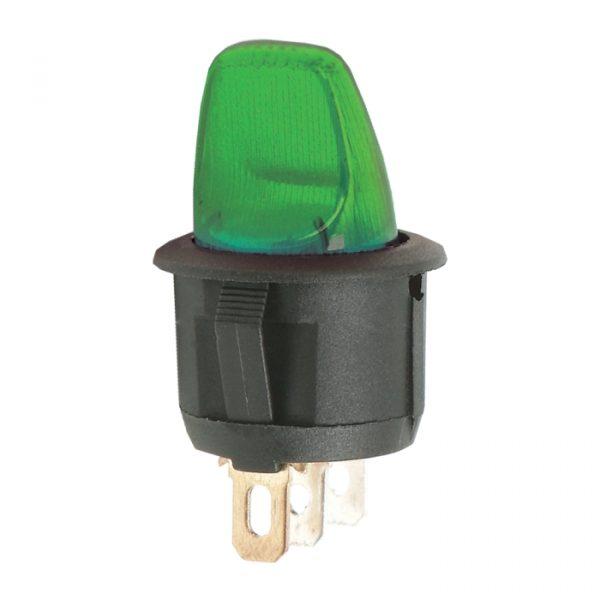 Preklopno stikalo - 1 krog - 6 A - 250 V - ON - OFF - zelena luč
