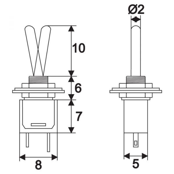 Preklopno stikalo - 1 vezje - 1 A - 250 V - OFF - ON
