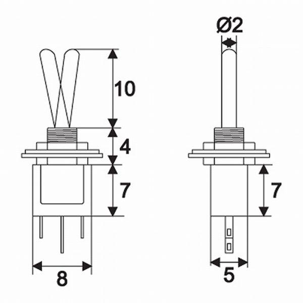Preklopno stikalo - 1 vezje - 1 A - 250 V - ON - ON