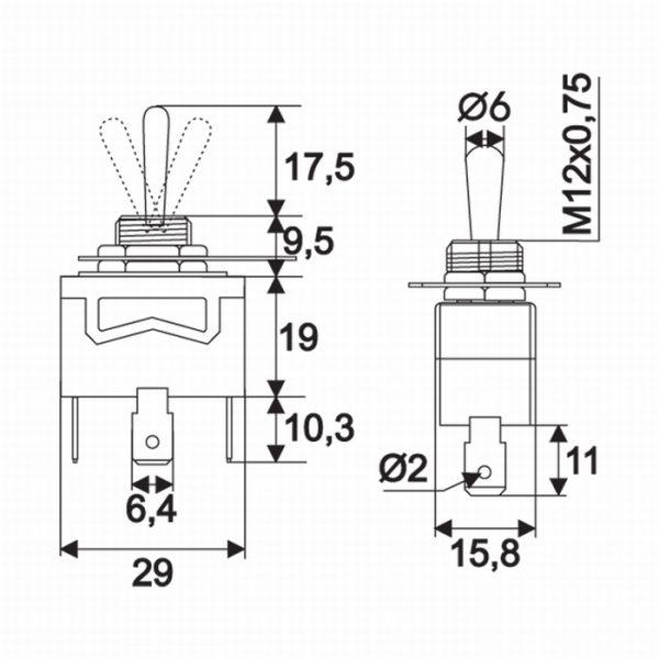 Preklopno stikalo - 1 vezje - 10 A - 250 V - ON - OFF - ON