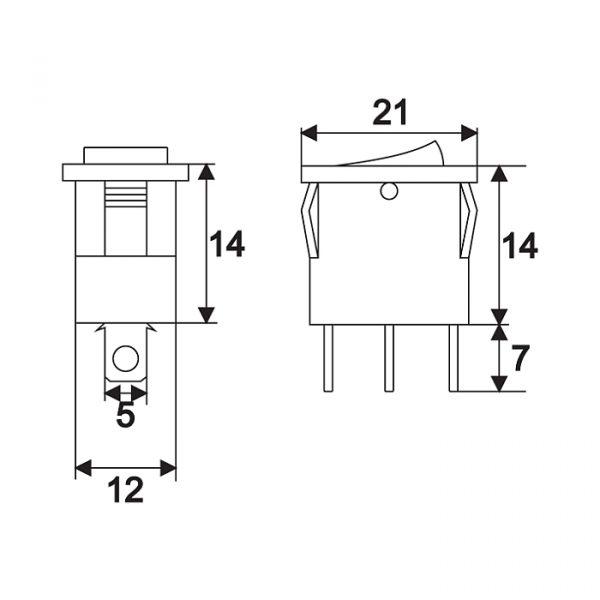 Preklopno stikalo - 1 vezje - 15 A - 12 V DC - OFF - ON - rumena LED