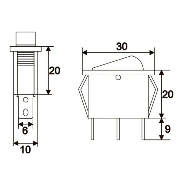 Preklopno stikalo - 1 vezje - 16 A - 250 V - OFF - ON - rumena luč