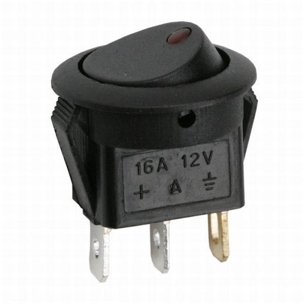 Preklopno stikalo - 1 vezje - 16A - 12 V DC - OFF - ON - rdeča LED