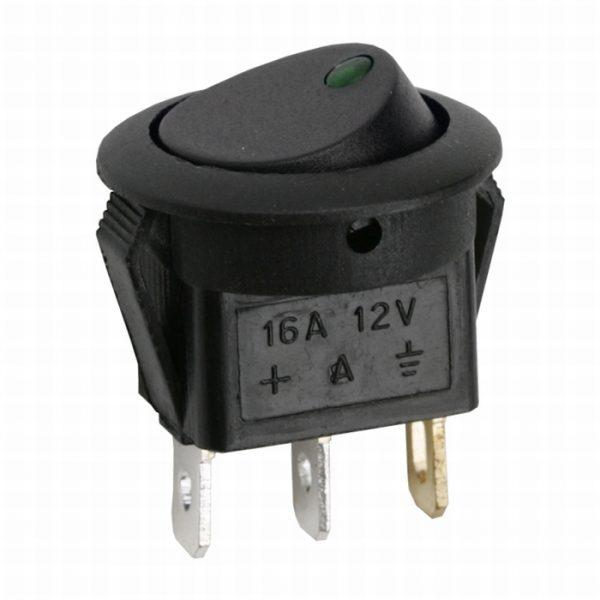 Preklopno stikalo - 1 vezje - 16A - 12 V DC - OFF - ON - zelena LED