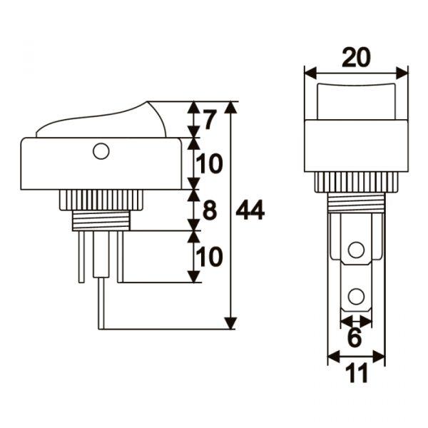 Preklopno stikalo - 1 vezje - 20 A - 12 V DC - OFF - ON - zelena LED