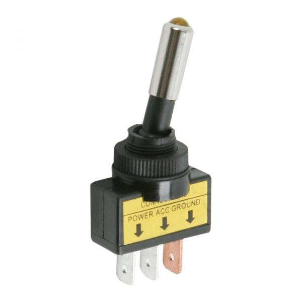 Preklopno stikalo - 1 vezje - 20 A - 12 V DC - ON - OFF - rumena LED