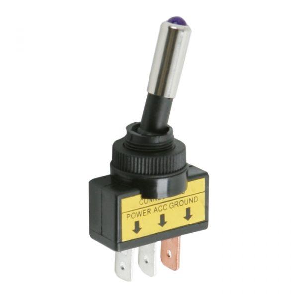 Preklopno stikalo - 1 vezje - 20 A - 12 V DC - ON - OFF - vijolična LED