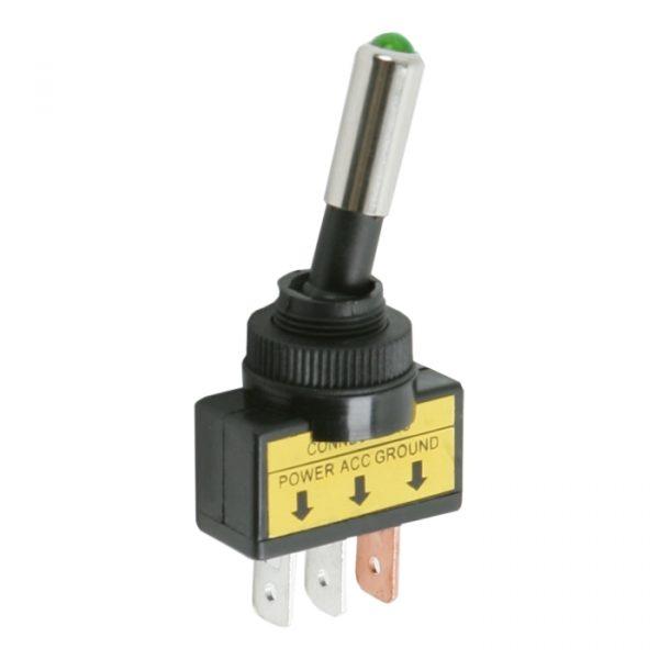 Preklopno stikalo - 1 vezje - 20 A - 12 V DC - ON - OFF - zelena LED