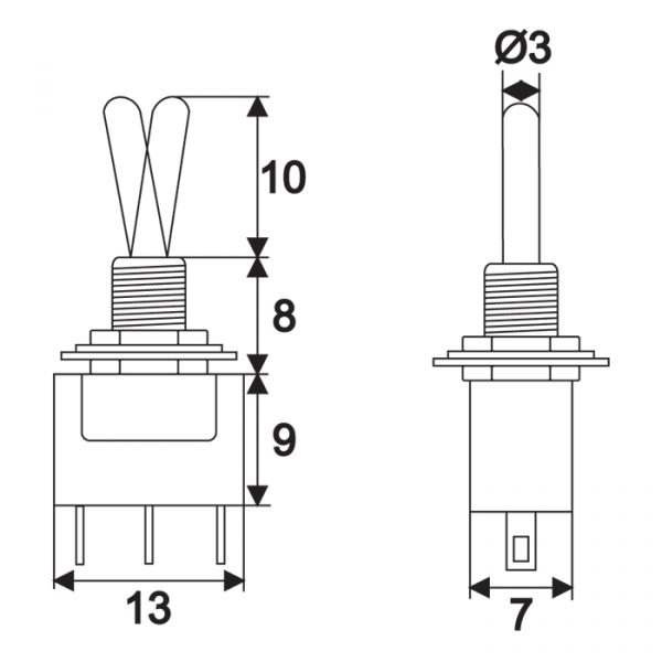 Preklopno stikalo - 1 vezje - 3 A - 250 V - ON - ON