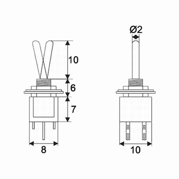 Preklopno stikalo - 2 vezja - 1 A - 250 V - ON - ON
