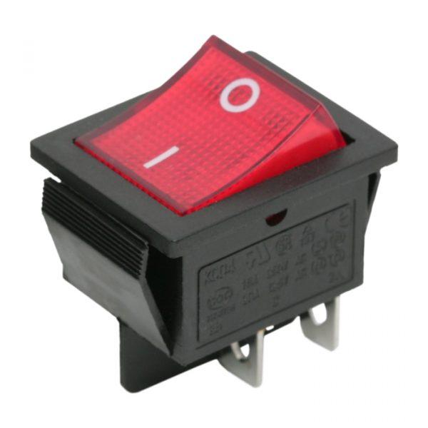 Preklopno stikalo - 2 vezja - 16 A - 250 V - OFF - ON - rdeča luč