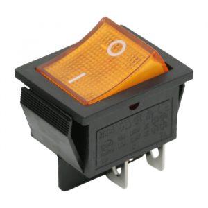 Preklopno stikalo - 2 vezja - 16 A - 250 V - OFF - ON - rumena luč