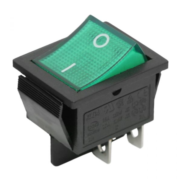 Preklopno stikalo - 2 vezja - 16 A - 250 V - OFF - ON - zelena luč