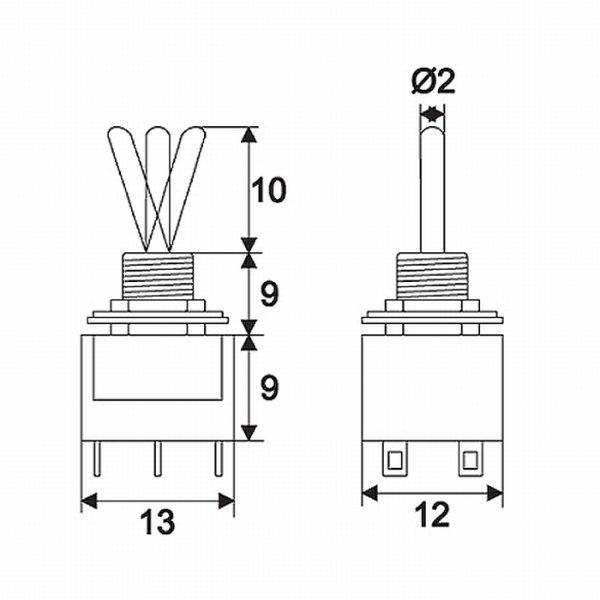 Preklopno stikalo - 2 vezja - 3 A - 250 V - ON - OFF - ON