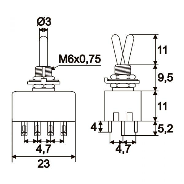 Preklopno stikalo - 4 vezja - 3A - 250V - ON - ON
