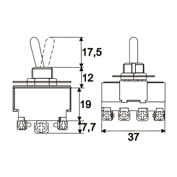 Preklopno stikalo s 4 vezji - 10 A - 250 V - ON - ON - s sprednjo ploščo iz kovine