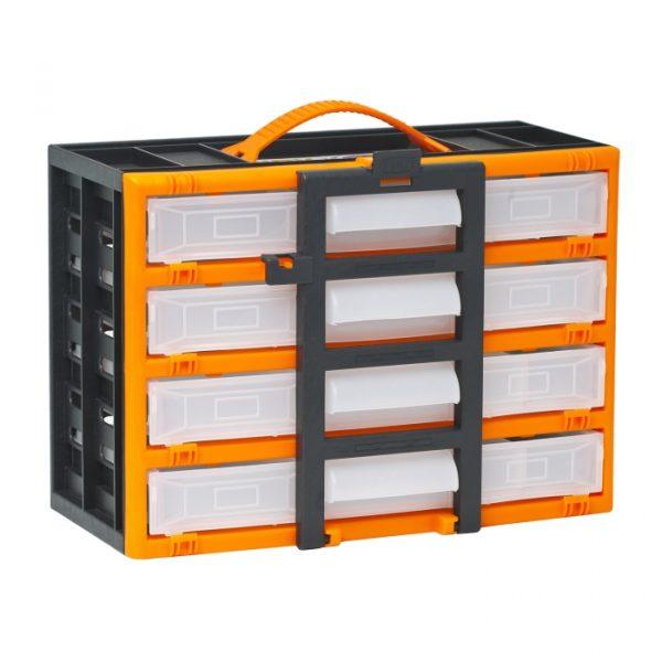 Prenosni organizator za drobni elektromaterial s predalčki - 310 x 165 x 220 mm