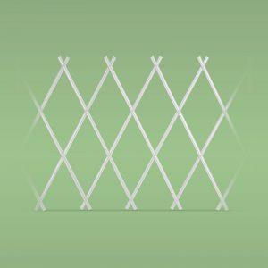 PVC ograja za svetlične grede - izvlečna -  200 x 100 cm - bela