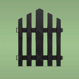 PVC ograja za vrtove ali cvetlične grede - 30 x 36 cm - črna