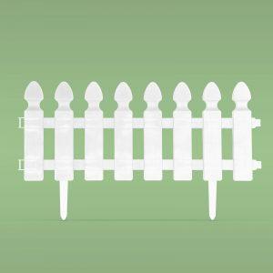 PVC ograja za vrtove ali cvetlične grede - 51 x 30 cm - bela