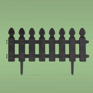 PVC ograja za vrtove ali cvetlične grede - 51 x 30 cm - črna