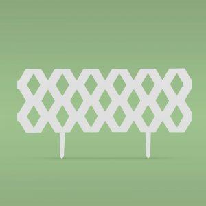 PVC ograja za vrtove ali cvetlične grede - 60 x 22 cm - bela